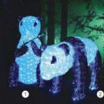 Lampu Lampion Akrilik Motif Panda bersama anaknya 3D DY(2016)-3D009 H98cm x W50cm , H66cm x L100cm