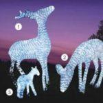 Lampu Lampion Akrilik Motif Rusa Sekeluarga Putih DY(2016)-3D011 H100cm x W65cm, H60cm x W83cm, H40cm x W36cm