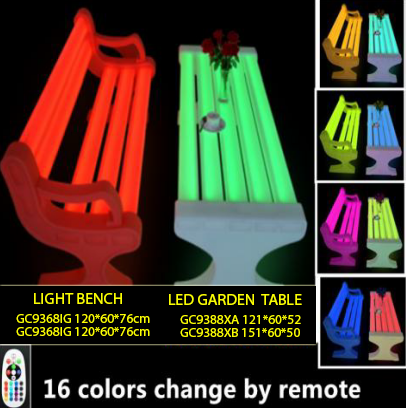 Light Bench (Have handril) and led garden table
